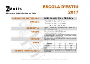 ESCOLA D'ESTIU 2017. INFORMACIÓ